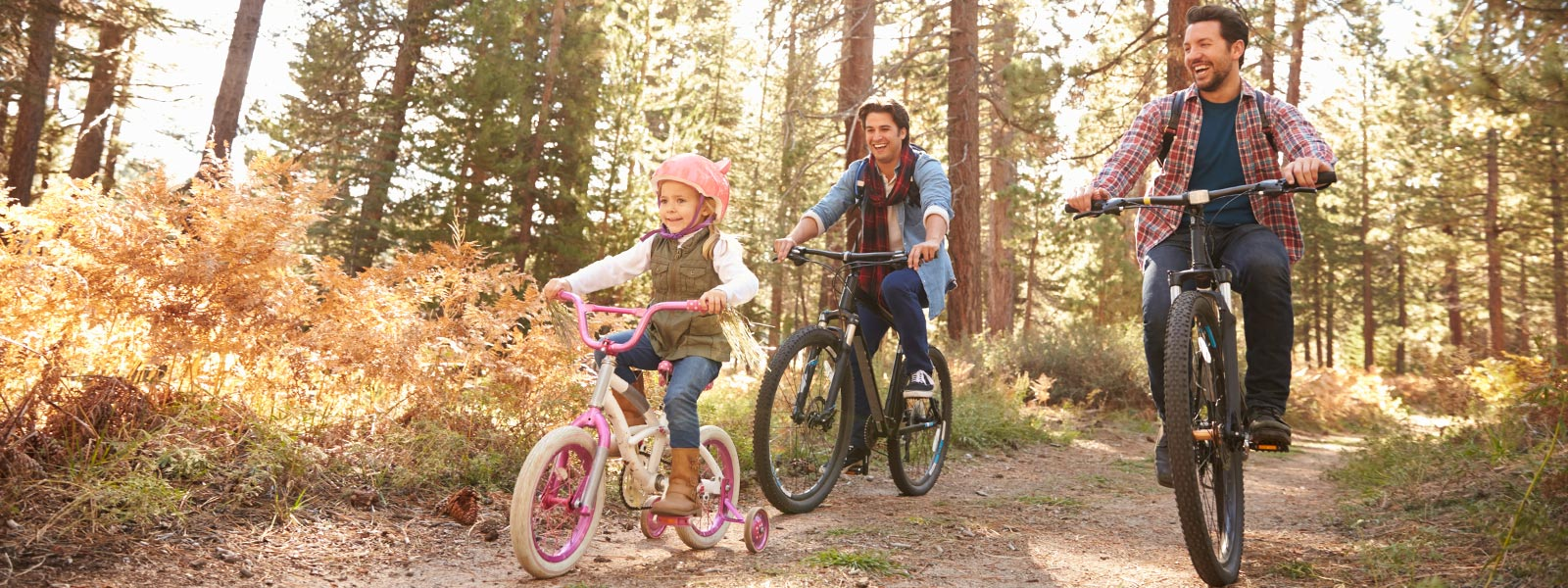 A family riding bicycles on a forest path.