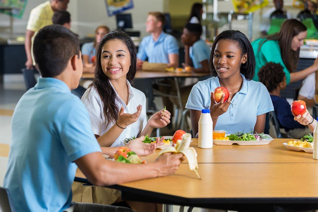 Group of high school students eating lunch
