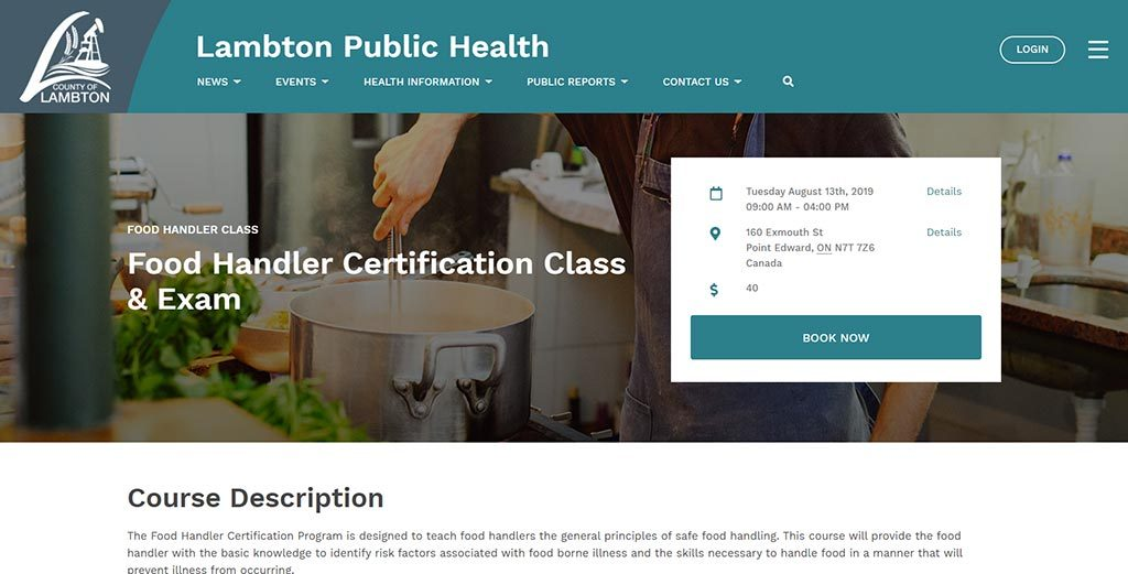 Food Handler Certification Class registration on the new LAmbton Public Health website.