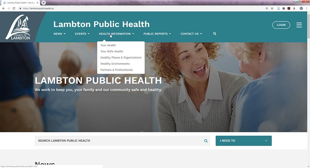 Lambton Public Health website with the Health Information menu.