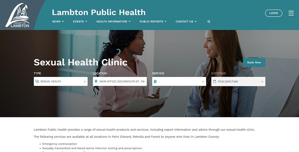 Booking an appointment on the new Lambton Public Health website.