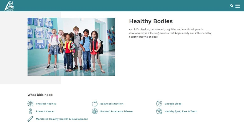 Healthy Bodies section on the new Lambton Public Health website.