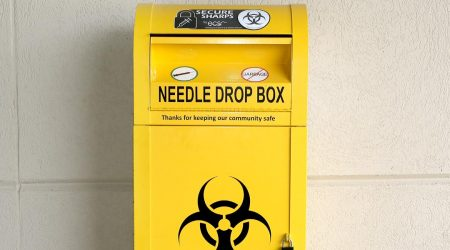 A community safe disposal bin.
