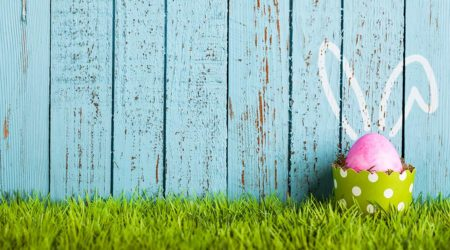 Pink-Easter-Egg-Against-Blue-Fence-with-Bunny-Ears