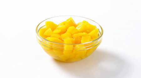 Chunks of mangoes in a bowl.